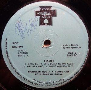 City Boys, label a-side