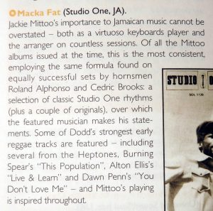 passage from the Rough Guide on Jackie Mittoo's Macka Fat
